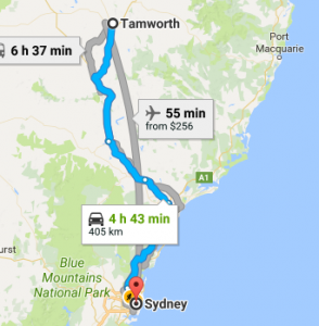 Tamworth to byron bay